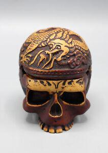 Brown Skull Head Carving Incense Burner