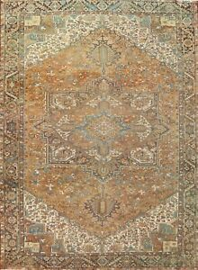 Antique Muted Geometric Heriz Hand-knotted Area Rug Wool Oriental Carpet 10'x13'