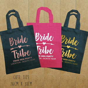 Bride Tribe PERSONALISED Hen Party Favour / Gift Bag 26 x 31cm Rose Gold Pink