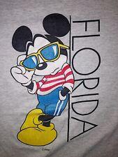 VTG Disney T-Shirt Adult XL Gray Vintage 1990's Mickey Mouse Velva Sheen Florida