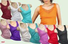 Damen Tank Top Baumwolle-Hemd drüber + drunter mit Spitze Unterwäsche