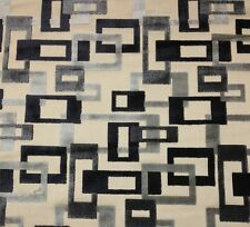 CLARENCE HOUSE TERENCE GREY BLACK GEOMETRIC VELVET FURNITURE FABRIC BY THE YARD