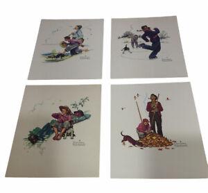 Vintage c1970s Norman Rockwell Grandpa And Me Embossed 4 Print Set NICE!!