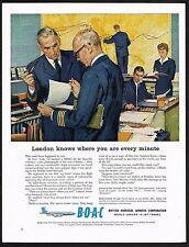 1960 Vintage BOAC B.O.A.C Airways Airline Pilot Air Traffic Control Art Print Ad