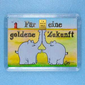 Valcambi Ottifant Otto Waalkes 1 Gramm 999.9 Goldbarren Küssende Ottifanten