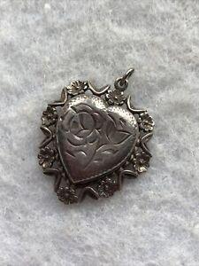 Vintage Silver Locket Pendant Hallmarked Birmingham 1976 I Love You Floral 1970s