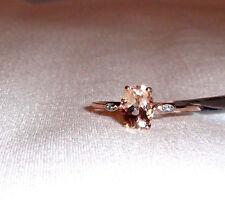 10K Rose Gold Pink Morganite Oval & Diamond Ring, Size 9, 1.090(TCW), 1.37 Grams