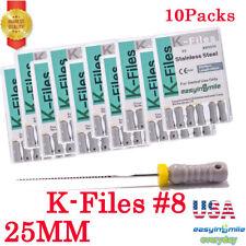 10packs K Files 25mm Endodontic Hand Use Endo Dental Stainless Steel Files 8