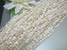 3 loose strands vintage freshwater biwa pearl white side drilled flat oval 4-7mm