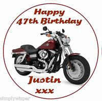 Harley Davidson Personalised Icing Birthday Cake Decoration Topper Motorbike