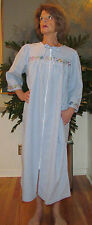 """Robe, Duster, Housecoat, Seersucker, Zipper, Embroidered """"Made in USA"""""""