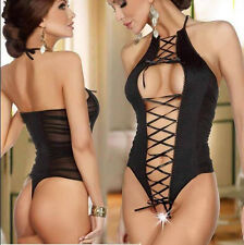Women's Sexy Lingerie Lace Dress Black Babydoll Sleepwear G-string New COH