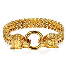 Franco Link Curb Chain Bracelet for Men Punk 18K Gold Stainless Steel Wolf Head