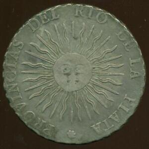 ARGENTINA PROVINCIAS UNIDAS SUNFACE COIN 8 REALES 1815 F. POTOSI BOLIVIA MINT XF