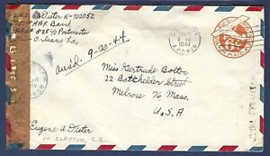 Fort Clayton, Canal Zone Stamped Airmail Cover #UC4 Passed by Army Examiner