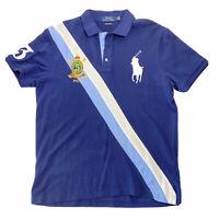 POLO RALPH LAUREN Men's Slim Fit BIG PONY Gold Crest Banner Shirt, Navy Blue