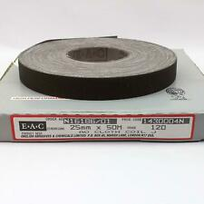 EAC English Abrasives 25mm x 50m Aluminium Oxide Cloth Sanding Coil Roll 120G