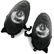 Black clear finish headlight front light set PAIR for NISSAN MICRA K12 03-07