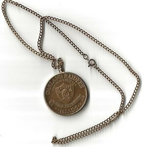 1977 OAKLAND RAIDERS pride & poise NFL Toss Coin Heads WORLD CHAMPIONS on chain