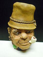 Vintage 1969 Bossons Irish Paddy Pipe Shamrock Wall Mask Head Chalkware