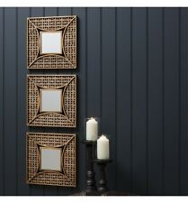 "Agadir Set of 3 Unique Accent Decorative Wall mirrors Aged Gold Finish 14"" x 14"""