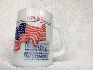 Bicentennial Flag Fire Dept Newberrytown PA Mug Cup 1976 Federal Milk Glass USA
