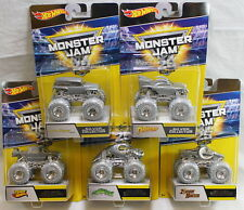 Set / Lot of 5: Hot Wheels Monster Jam 25th Anniversary Silver Collection Trucks