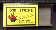 Vintage ONE STRIKE Damp Proof Empty Safety Matches Box