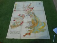 100% ORIGINAL LARGE ENGLAND AND WALES GEOLOGICAL MAP BY PHILLIPS  C1956
