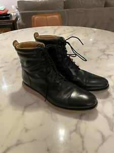 Cole Haan Leather Lunargrand Lace Up Black Military Boots Size 11.5