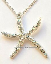 Silver Crystal Starfish Necklace Plated Freeform Beach Island Sea Life 17 Inch