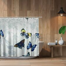 Blue Butterfly Shower Curtain for Bath or Wall Art - Hooks and Liner Included
