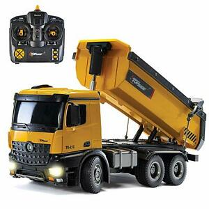 Top Race Large 10 Channel Electric Remote Control Dump Tipper Truck RC Toy 1:14