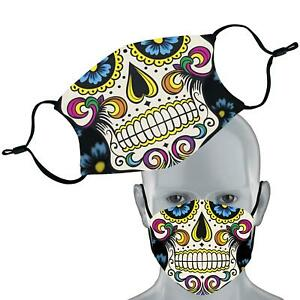 Sugar Skull Printed Face Mask Double Layer Washable Filter Face Cover