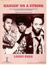 "LOOSE ENDS ""HANGIN' ON A STRING"" SHEET MUSIC-PIANO/VOCAL/GUITAR/CHORDS-1985-NEW!"