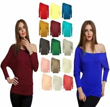 Womens Full Sleeve Off Shoulder Batwing Top Ladies Baggy Slouch Plain Vest Top