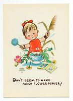 Mabel Lucie Attwell 1960's GREETINGS POSTCARD C113 Unposted (Flower Power)