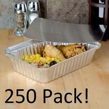 250 Sets Oblong Aluminum Foil Take-Out Pan Container Tins w/Board Lid  2 1/4 lb.