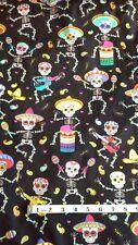Azúcar calaveras y esqueletos Tela mexicana Cráneo Fat 1/4s. 100% algodón, C6538
