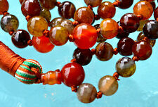 Jade & Red Carnelian Hand knotted Meditation Japa Mala Beads Necklace