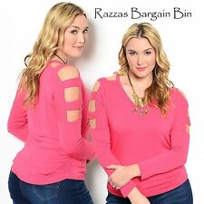 New Ladies Coral Cut Out Sleeve Top Plus Size 14 1XL (9791)LD