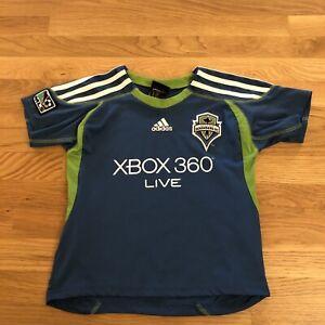Seattle Sounders Adidas Kids MLS Blue Green Soccer Jersey Size M 5-6 Medium