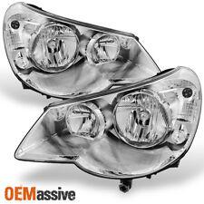 07-10 Sebring 4Dr Sedan Chrome Replacement Headlights Headlamp Left+Right Pair