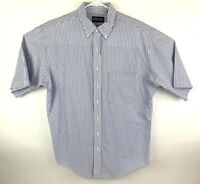 Lands End Mens LT 16 16.5 Camp Shirt Button Front SS Blue Striped Seersucker