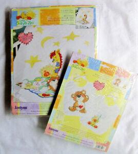 """Janlynn Suzy's Zoo """"Witzy, Boof & Friends"""" Quilt & Bib Pair Cross Stitch Kits"""