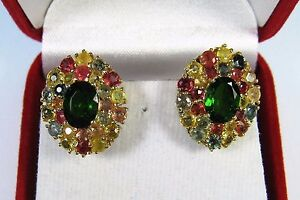 CHROME DIOPSIDE & FANCY SAPPHIRE EARRINGS 6.7 ctw YELLOW GOLD/RHODIUM/925 SILVER