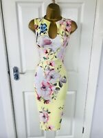 Bright Yellow Summer Floral Evening Bodycon Occasion Races Midi Wiggle Dress £65