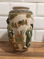 "Antique japanese satsuma vase C1920-30s moriage beed design signed 10"" Tall"