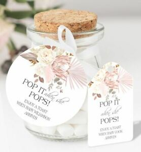 10 x Personalised Baby Shower Pop When She Pops Round Favour Tags DY