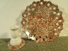 Royal Paisley Pierced Wallplate Intricate Transferware Dessert Plate / Candle
